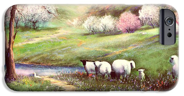 Sheep Paintings iPhone Cases - Spring Lambs iPhone Case by Sally Seago