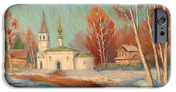 Orthodox Paintings iPhone Cases - Spring Landscape iPhone Case by Sergei Arsenevich Vinogradov