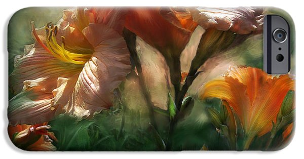 Day Lilies iPhone Cases - Spring Lilies iPhone Case by Carol Cavalaris