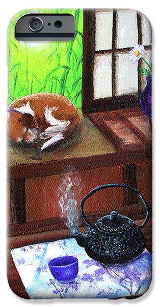 Beagles iPhone Cases - Spring Morning Tea iPhone Case by Laura Iverson