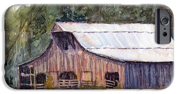 Old Barns Drawings iPhone Cases - Spring On The Farm - Rural Watercolor Landscape iPhone Case by Barry Jones