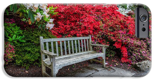 Bush Digital iPhone Cases - Spring Park Bench iPhone Case by Adrian Evans