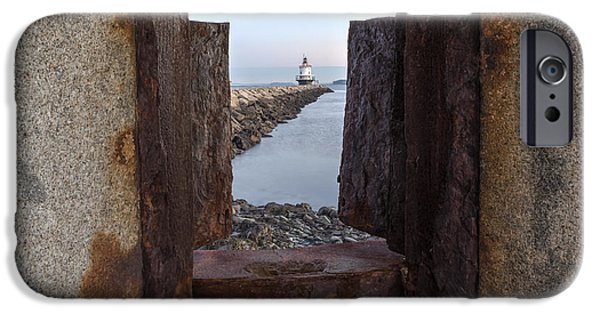 Maine iPhone Cases - Spring Point Ledge Light House iPhone Case by Susan Candelario