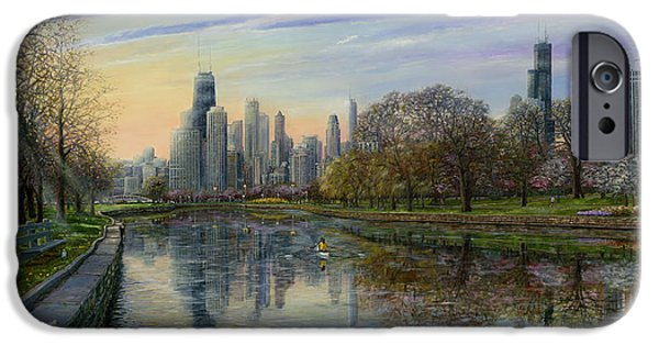 Chicago Paintings iPhone Cases - Spring Serenity  iPhone Case by Doug Kreuger