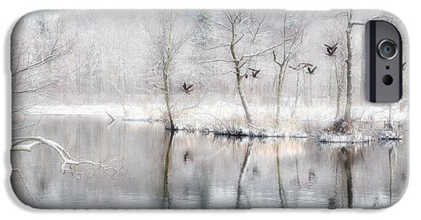 Geese iPhone Cases - Spring Snow iPhone Case by Bill Wakeley