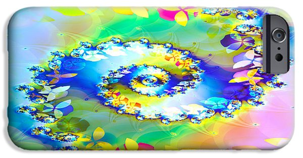 Fractals Fractal Digital Art iPhone Cases - Spring Spiral iPhone Case by Sharon Lisa Clarke