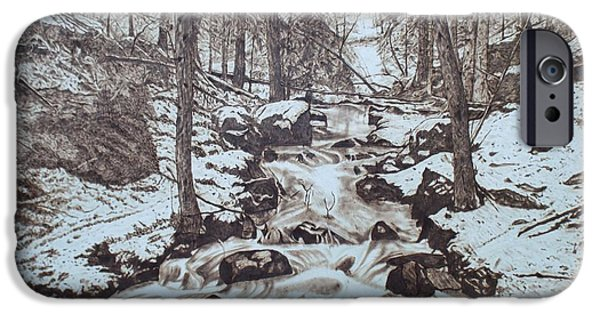 With Pyrography iPhone Cases - Spring Thaw iPhone Case by Jim Nutting