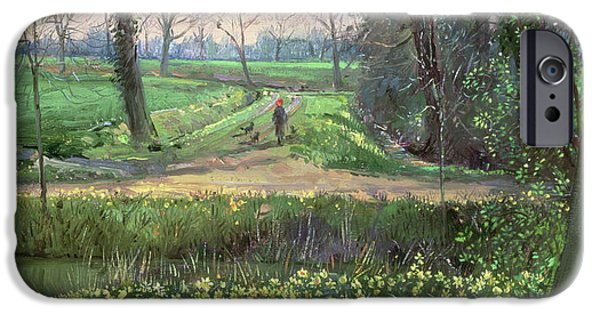 Green Path iPhone Cases - Spring Walk iPhone Case by Timothy Easton