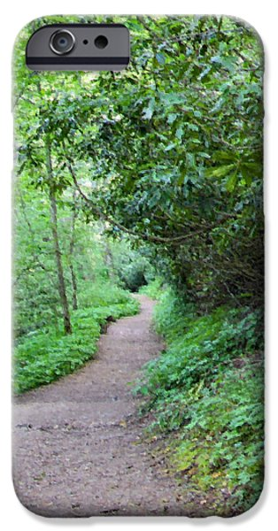 Pathway Mixed Media iPhone Cases - Springing Down the Path iPhone Case by Kristin Elmquist