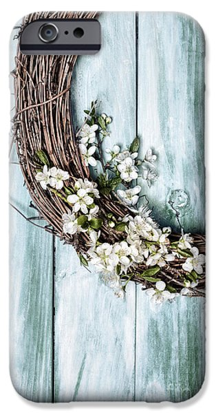 Wooden Door iPhone Cases - Springtime Garland iPhone Case by Amanda And Christopher Elwell