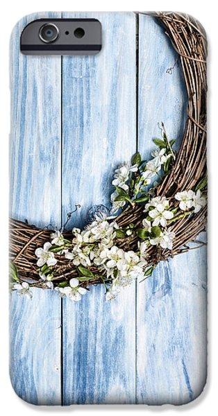 Wooden Door iPhone Cases - Springtime Wreath iPhone Case by Amanda And Christopher Elwell