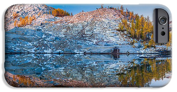 Snow iPhone Cases - Sprite Lake Panorama iPhone Case by Inge Johnsson