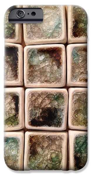 Square Ceramics iPhone Cases - Square Glass Tiles iPhone Case by Evelyn Taylor Designs
