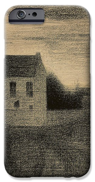 Outdoors Pastels iPhone Cases - Square House iPhone Case by Georges Pierre Seurat