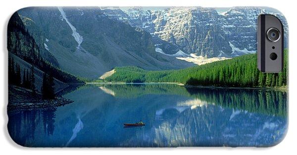 Canoeing iPhone Cases - S.short Canoeist, Moraine Lake, Ab, Fl iPhone Case by Steve Short