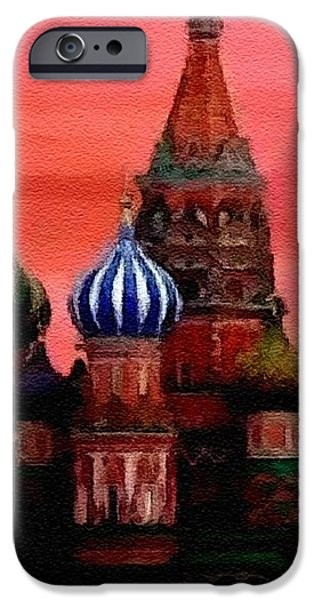 Abstract Digital Pastels iPhone Cases - St Basils Basillica Red Square Moscow Catus 1 no. 1 H A iPhone Case by Gert J Rheeders