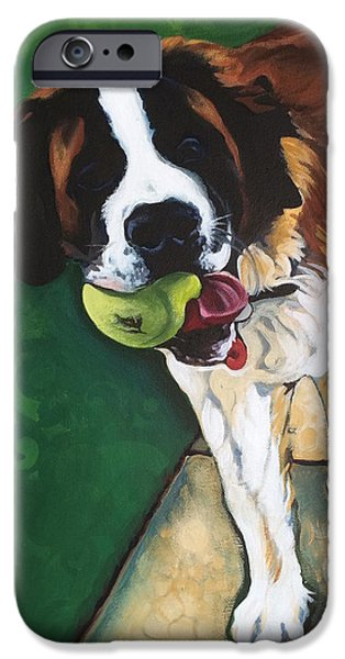 Recently Sold -  - Dog With Tennis Ball iPhone Cases - St. Bernard iPhone Case by Carol Meckling