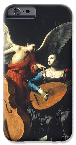 Lute Paintings iPhone Cases - St. Cecilia And The Angel iPhone Case by Granger