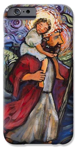 Saint Christopher iPhone Cases - St. Christopher iPhone Case by Jen Norton