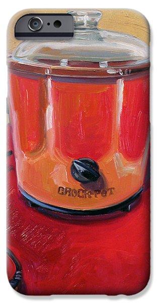 Red Carpet iPhone Cases - St. Crock Pot in Orange iPhone Case by Jennie Traill Schaeffer