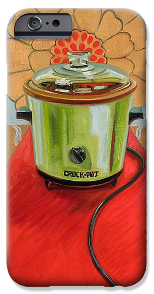 Appliance iPhone Cases - St. Crock Pot of the Red Carpet iPhone Case by Jennie Traill Schaeffer