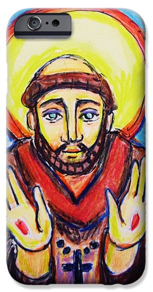 Religious Drawings iPhone Cases - St. Francis iPhone Case by Nancy  Connolly