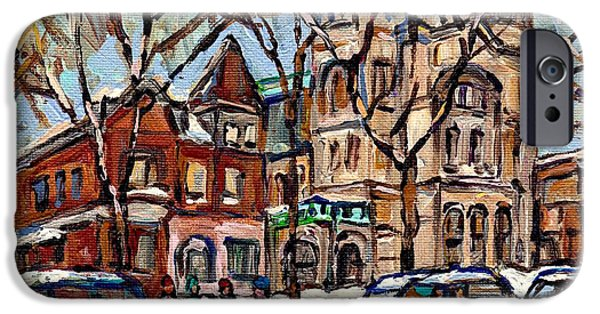 Hockey Paintings iPhone Cases - St Gabriels Rectory  St Charles Church Rue Centre Pointe St Charles  Original Oil Painting Cspandau iPhone Case by Carole Spandau