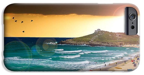 Beach Landscape iPhone Cases - St Ives Cornwall UK iPhone Case by Martin Newman