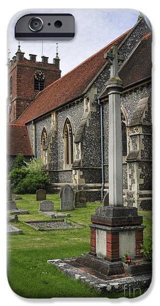 Headstones iPhone Cases - St James the Less Church iPhone Case by Andy Smy
