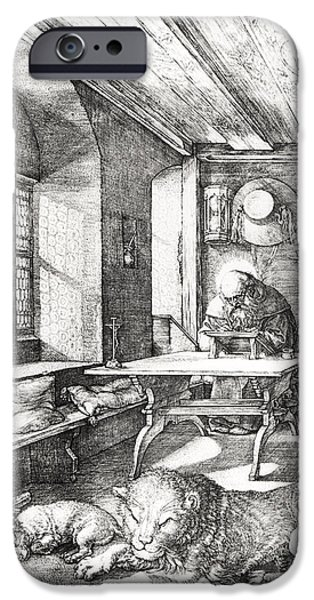 Religious Drawings iPhone Cases - St Jerome In His Study iPhone Case by Albrecht Durer or Duerer