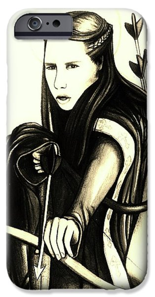 Religious Drawings iPhone Cases - St. Joan of Arc iPhone Case by MaryEllen Frazee