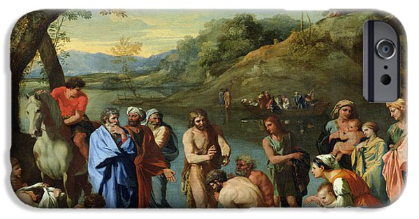 The Followers Paintings iPhone Cases - St John Baptising the People iPhone Case by Nicolas Poussin