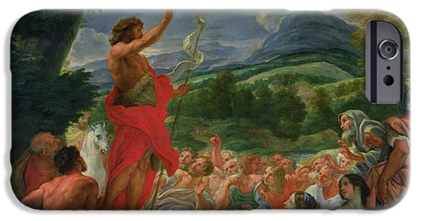 Young iPhone Cases - St John the Baptist Preaching iPhone Case by II Baciccio - Giovanni B Gaulli