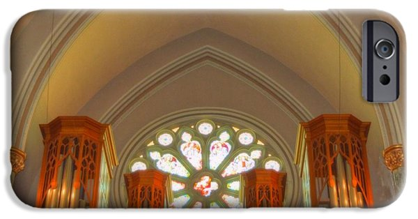 Balcony iPhone Cases - St. Johns Cathedral organ iPhone Case by Linda Covino