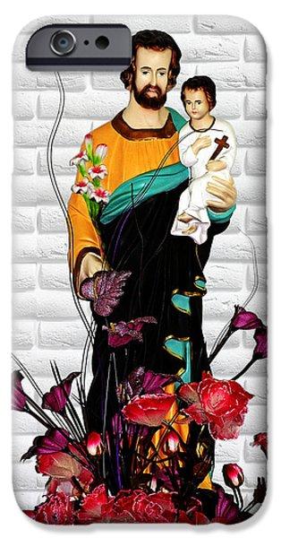 St Joseph holding Baby Jesus - Catholic Church Qibao China iPhone Case by Christine Till