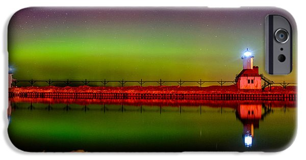 Chicago Pyrography iPhone Cases - St Joseph Northern lights iPhone Case by Joshua Teo
