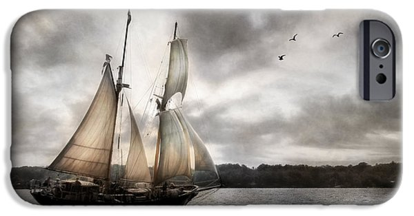 Sailboat Mixed Media iPhone Cases - St. Lawrence II iPhone Case by Lori Deiter