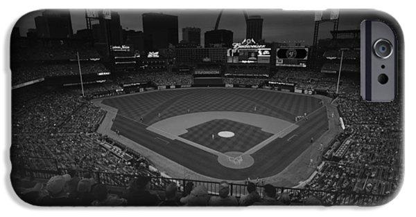 Village iPhone Cases - St. Louis Cardinals Busch Stadium Black White Creative 11 iPhone Case by David Haskett