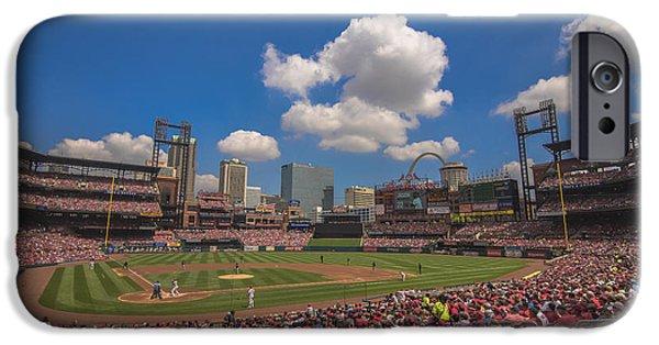 Village iPhone Cases - St. Louis Cardinals Busch Stadium Creative 14 iPhone Case by David Haskett