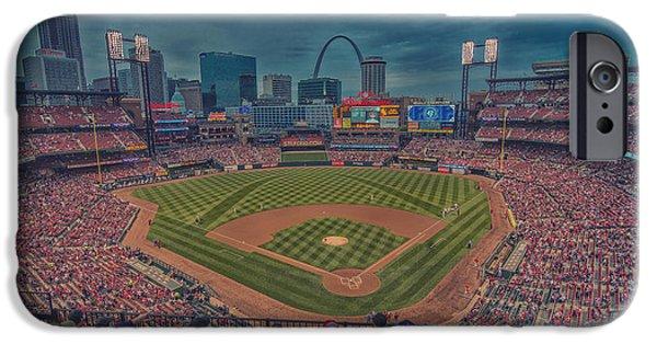 Village iPhone Cases - St. Louis Cardinals Busch Stadium Creative 15 iPhone Case by David Haskett