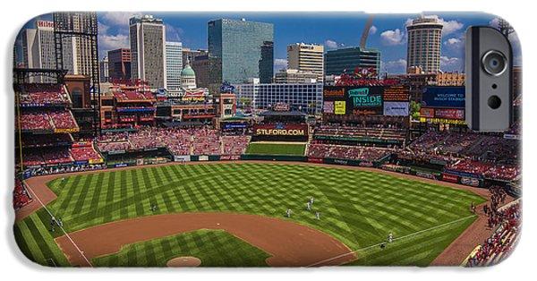 Village iPhone Cases - St. Louis Cardinals Busch Stadium Creative 16 iPhone Case by David Haskett