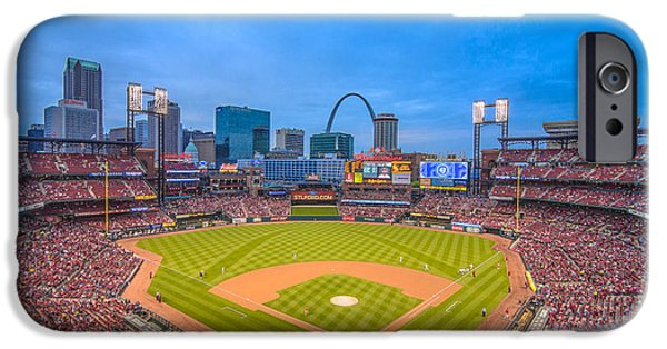 Recently Sold -  - Nation iPhone Cases - St. Louis Cardinals Busch Stadium Creative Blue iPhone Case by David Haskett