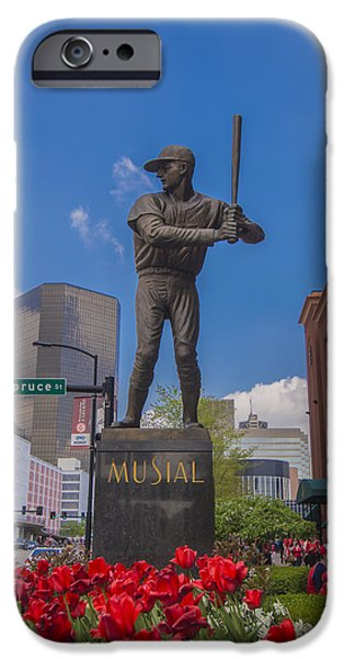 Baseball Stadiums iPhone Cases - St. Louis Cardinals Busch Stadium Stan Musial Roses iPhone Case by David Haskett
