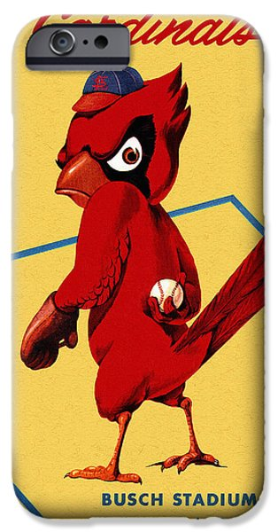 Mlb Drawings iPhone Cases - St. Louis Cardinals Vintage 1956 Program iPhone Case by Big 88 Artworks