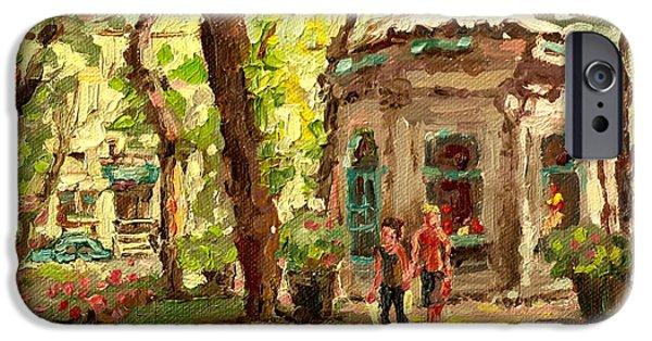 Delicatessans iPhone Cases - St Louis Square St Denis Street iPhone Case by Carole Spandau