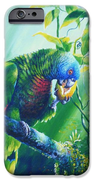 St. Lucia Parrot and Wild Passionfruit iPhone Case by Christopher Cox