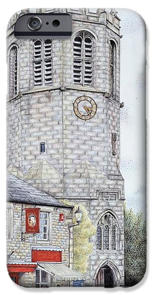 Facade Drawings iPhone Cases - St Margarets Church Clock  Hornby  Lancashire iPhone Case by Sandra Moore