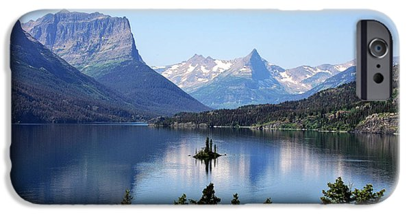 Harsh iPhone Cases - St Mary Lake - Glacier National Park MT iPhone Case by Christine Till