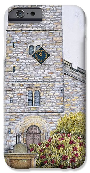 Facade Drawings iPhone Cases - St Marys Church Clock  Kirkby Lonsdale  Cumbria iPhone Case by Sandra Moore