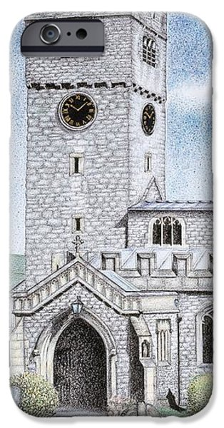 Facade Drawings iPhone Cases - St Michael and All Angels Church Clock  Beetham Cumbria  iPhone Case by Sandra Moore